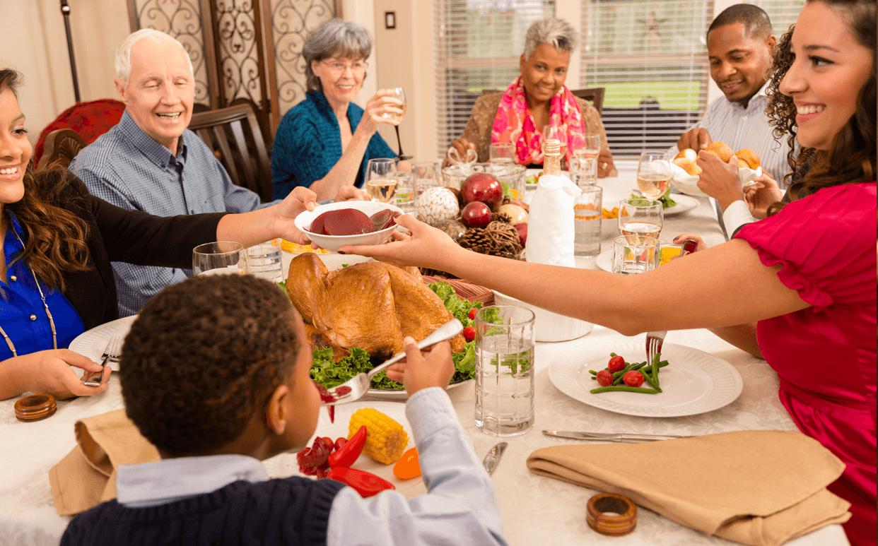 family eating thanksgiving dinner - HD1242×773